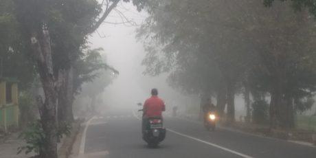 Jarak Pandang Pangkalpinang Sangat Pendek Akibat Kabut